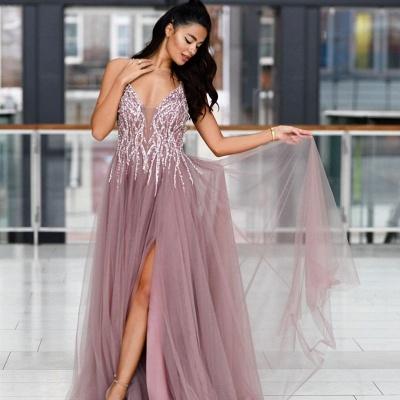 ZY019 Evening Dresses Long V Neck Prom Dresses Evening Wear Cheap_2