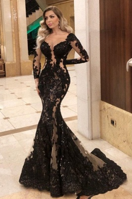 ZY084 Black Evening Dresses With Sleeves Top Evening Wear Online_1