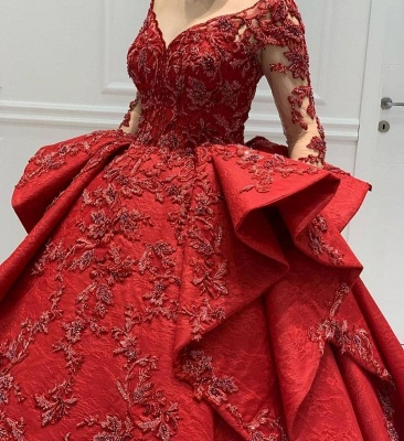 ZY018 Designer Evening Dresses Long Red Prom Dresses With Lace Sleeves_4