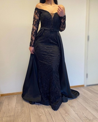 ZY007 Evening Dresses Long With Sleeves Evening Dress Black_3