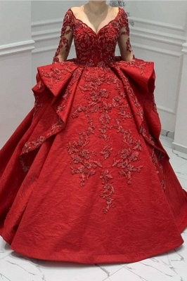 ZY018 Designer Evening Dresses Long Red Prom Dresses With Lace Sleeves_1