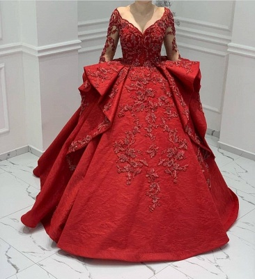 ZY018 Designer Evening Dresses Long Red Prom Dresses With Lace Sleeves_2