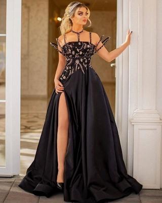 ZY010 Elegant Evening Dresses Long Lace Evening Dress Black Cheap_2