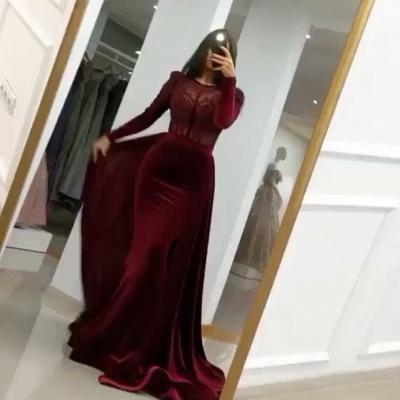 ZY051 Wine Red Evening Dresses With Sleeves Elegant Evening Wear Velvet Online_2