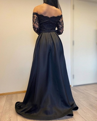 ZY007 Evening Dresses Long With Sleeves Evening Dress Black_4