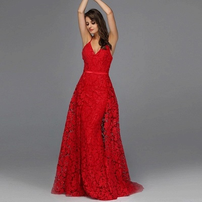 ZY087 Elegant Evening Dresses Long Red   Evening Wear With Lace_2