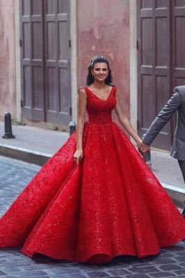 ZY086 Luxury Evening Dresses Long Red | Evening Wear V Neckline_1