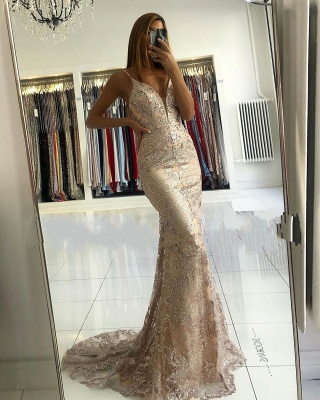 ZY029 Designer Evening Dresses Gold Long Lace Prom Dresses_2
