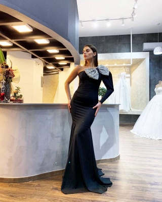 ZY014 Evening Dresses Long Black With Sleeves Elegant Prom Dresses_2