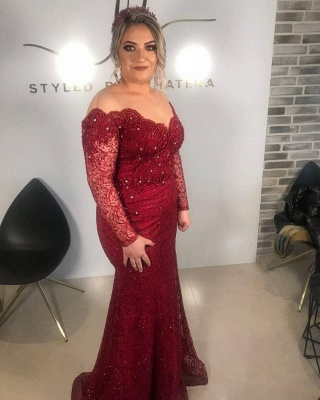 ZY008 Red Evening Dress With Sleeves Evening Dresses Long Cheap_2