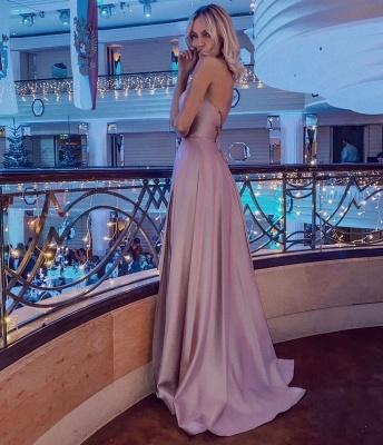 ZY020 Simple Evening Dress Long Pink Evening Wear_3