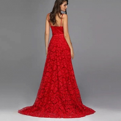 ZY087 Elegant Evening Dresses Long Red   Evening Wear With Lace_4