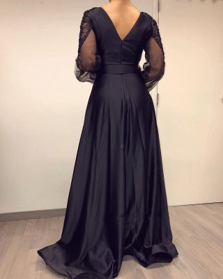 ZY017 Elegant Evening Dresses Long Black Prom Dresses With Sleeves_3
