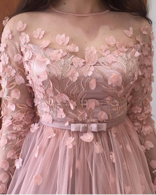 ZY015 Evening Dresses Long Pink Prom Dresses With Sleeves_5