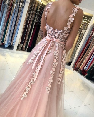 ZY025 Gorgeous Evening Dresses Long Pink Prom Dresses With Lace_4