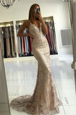 ZY029 Designer Evening Dresses Gold Long Lace Prom Dresses_1