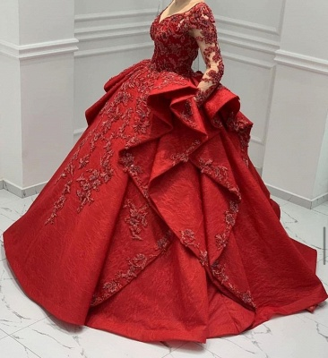 ZY018 Designer Evening Dresses Long Red Prom Dresses With Lace Sleeves_6
