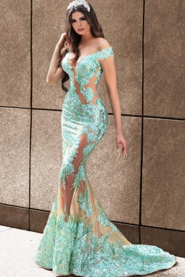 ZY081 Elegant Evening Dresses Long Green Prom Dresses With Lace_1