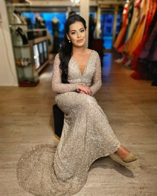 ZY009 Evening Dresses Long Glitter Cheap Prom Dresses With Sleeves_3
