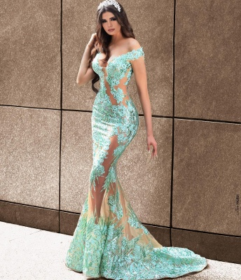 ZY081 Elegant Evening Dresses Long Green Prom Dresses With Lace_2