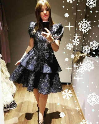 ZY042 Black Cocktail Dresses Short Evening Dresses With Lace Online_2