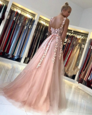 ZY025 Gorgeous Evening Dresses Long Pink Prom Dresses With Lace_3