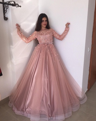 ZY015 Evening Dresses Long Pink Prom Dresses With Sleeves_2