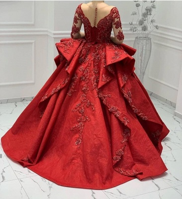 ZY018 Designer Evening Dresses Long Red Prom Dresses With Lace Sleeves_3