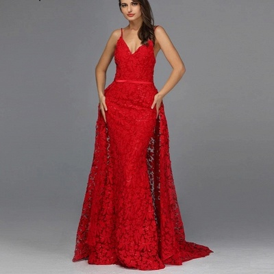 ZY087 Elegant Evening Dresses Long Red   Evening Wear With Lace_3