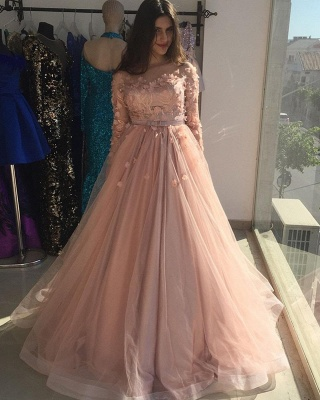 ZY015 Evening Dresses Long Pink Prom Dresses With Sleeves_3
