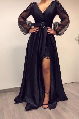 ZY017 Elegant Evening Dresses Long Black Prom Dresses With Sleeves_1