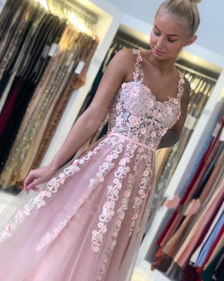 ZY025 Gorgeous Evening Dresses Long Pink Prom Dresses With Lace_5
