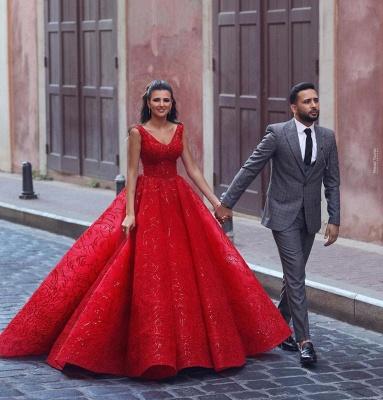 ZY086 Luxury Evening Dresses Long Red | Evening Wear V Neckline_2