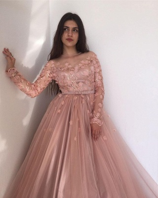 ZY015 Evening Dresses Long Pink Prom Dresses With Sleeves_4