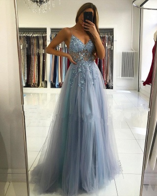 ZY024 Luxury Evening Dresses Blue Prom Dresses Long Glitter_2
