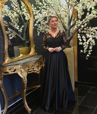 ZY011 Black Mother Of The Bride Dress Cheap Mother Of The Bride Dresses Long With Sleeve_4