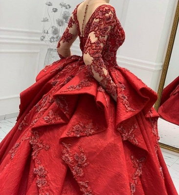 ZY018 Designer Evening Dresses Long Red Prom Dresses With Lace Sleeves_5