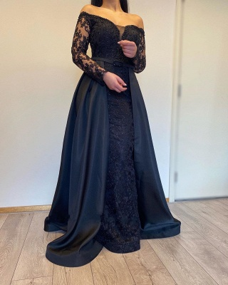 ZY007 Evening Dresses Long With Sleeves Evening Dress Black_2