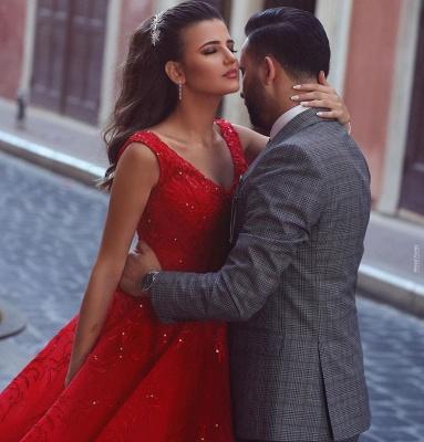 ZY086 Luxury Evening Dresses Long Red | Evening Wear V Neckline_3