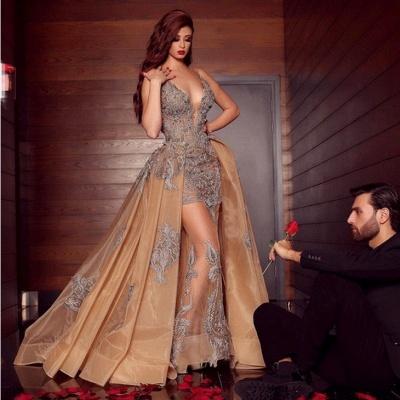 ZY080 Elegant Long Evening Dresses Cheap Prom Dresses V Neckline With Lace_2