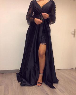 ZY017 Elegant Evening Dresses Long Black Prom Dresses With Sleeves_4