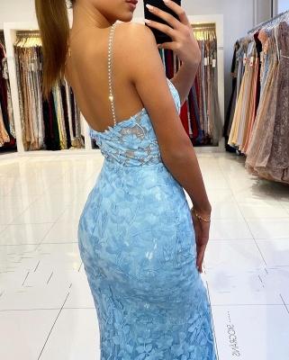 ZY026 Elegant Evening Dresses Blue Lace Prom Dresses Mermaid_4