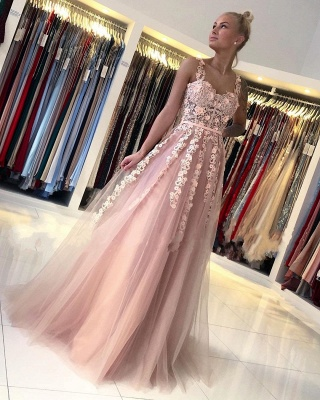ZY025 Gorgeous Evening Dresses Long Pink Prom Dresses With Lace_2