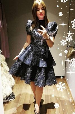 ZY042 Black Cocktail Dresses Short Evening Dresses With Lace Online_1