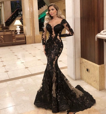 ZY084 Black Evening Dresses With Sleeves Top Evening Wear Online_2