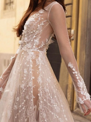 A-Line Wedding Dresses Scoop Neck Floor Length Lace Tulle Long Sleeve Beach Sexy See-Through_3