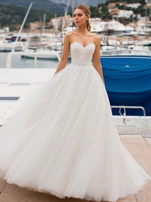 Ball Gown Wedding Dresses Strapless Sweep \ Brush Train Lace Tulle Strapless Sexy Plus Size_2