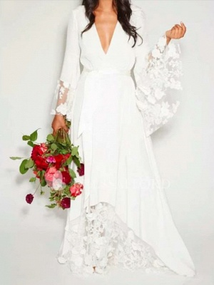 A-Line Wedding Dresses V Neck Floor Length Chiffon Lace Long Sleeve Casual Illusion Detail_1