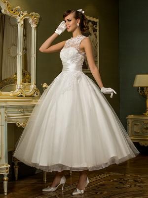 A-Line Wedding Dresses High Neck Ankle Length Lace Over Tulle Regular Straps Vintage Little White Dress Illusion Detail_3