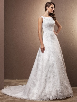 A-Line Wedding Dresses Bateau Neck Chapel Train All Over Floral Lace Regular Straps_1